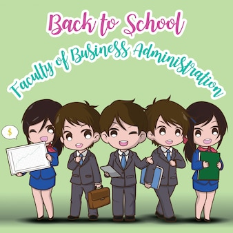Back to school. faculty of business administration.  cute businessman cartoon.