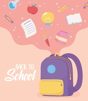 Back to school, falling paper pencil book apple crayon in the bag, elementary education cartoon