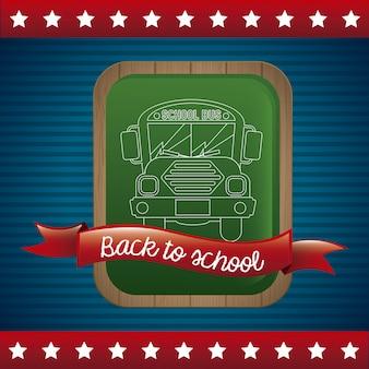 Back to school over flag background vector illustration