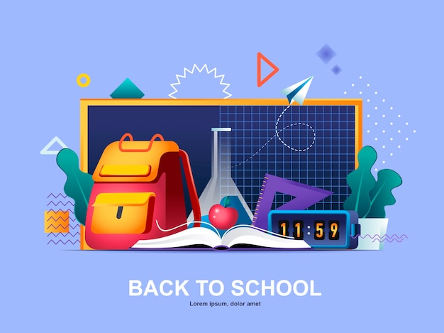 Back to school flat concept with gradients illustration template