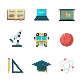 Back to school flat icon. education learning graduation  symbols college application pictures