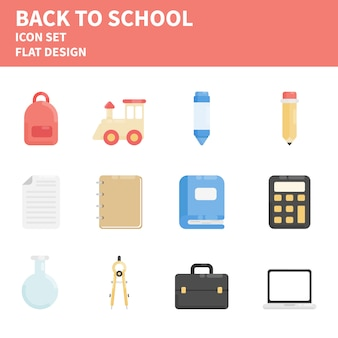 Back to school flat icon set
