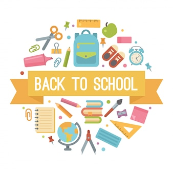 Back to school flat icons in a circle