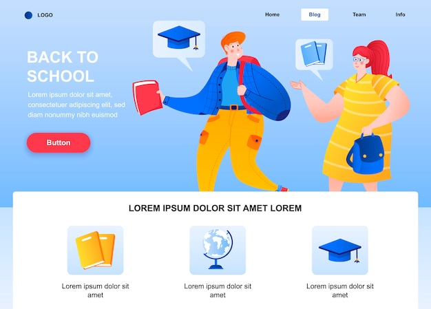 Back to school flat landing page. woman and boy with backpack behind back web page.