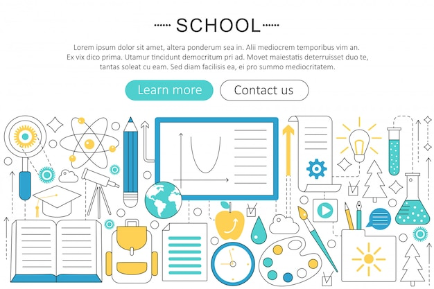 Back to school flat line concept