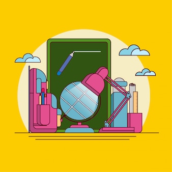 Back to school flat line vector illustration on isolated background.