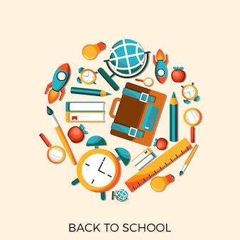Back to school flat poster illustration