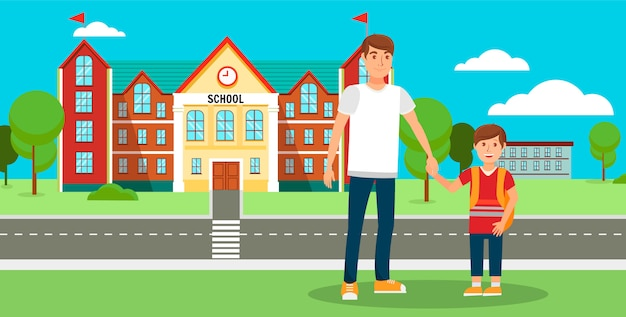 Back to school flat vector cartoon illustration