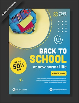 Back to school flyer poster social media design