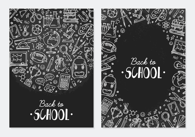 Back to school flyer template with education icons in doodle style on a blackboard
