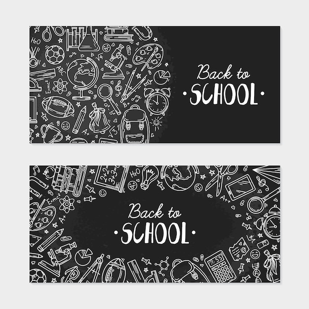 Back to school flyer with icons on a blackboard