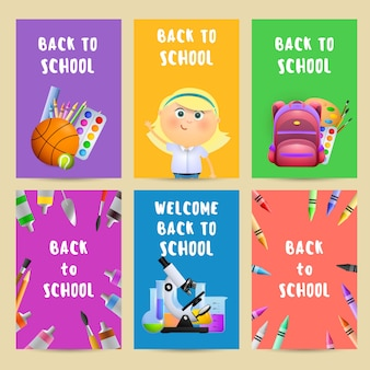 Back to school flyers with backpack, student girl