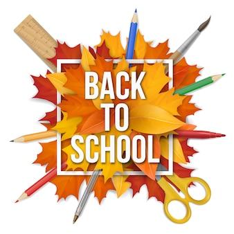 Back to school frame leaves