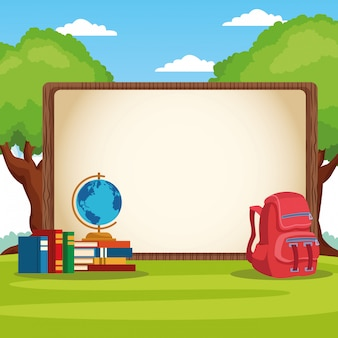 Back to school frame with cartoon