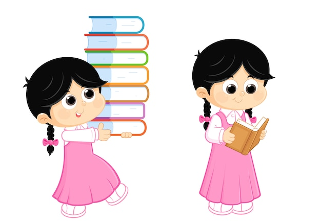 Back to school ,  girl reading and carrying books