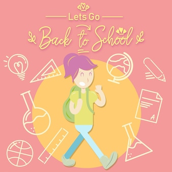 Back to school girl vector