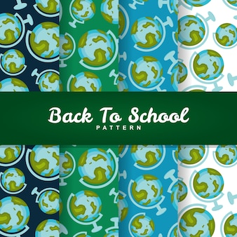 Back to school globe earth seamless pattern