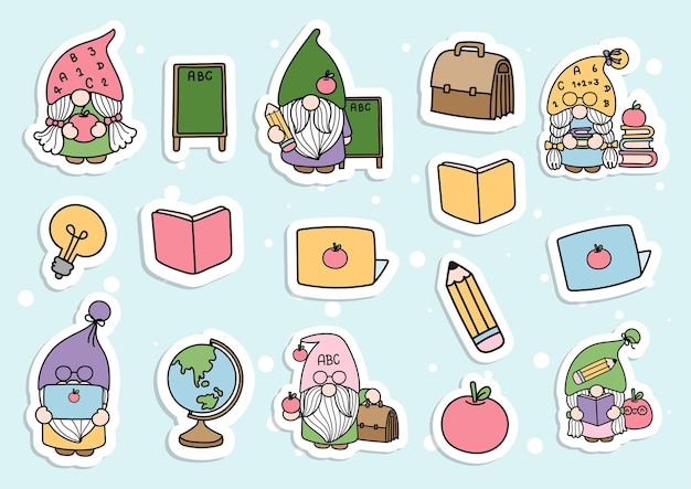 Back to school gnome sticker planner and scrapbook