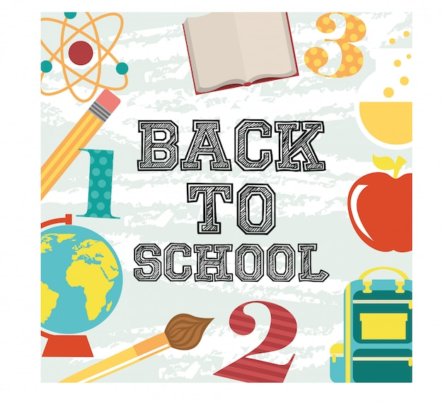 Back to school over green background vector illustration