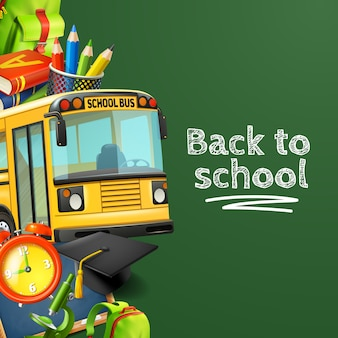 Back to school green background with bus pencils books and clock