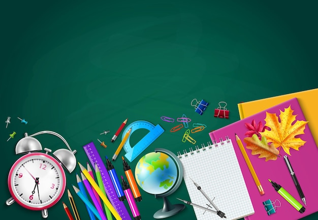 Back to school green chalk board background with pencils globe alarm clock herbarium notebooks realistic