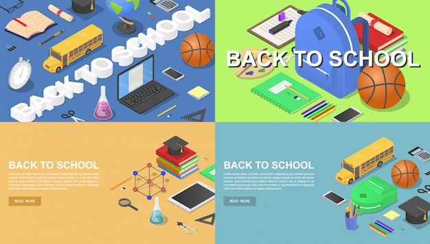 Back to school green desk tools supplies banner concept set