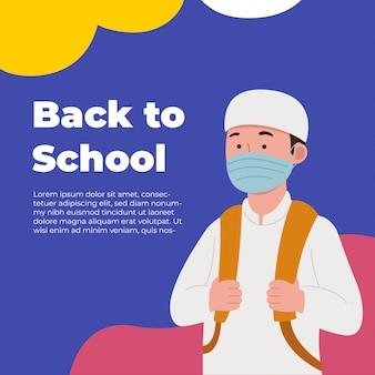 Back to school greeting arabian kid wearing mask