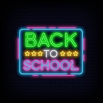 Back to school greeting card design template neon