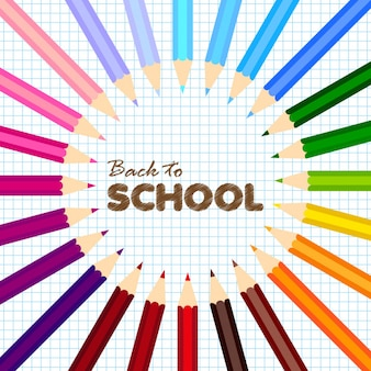 Back to school greeting card with colorful pencils