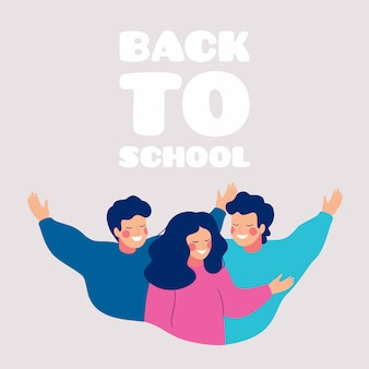 Back to school greeting card with happy teens embracing each other