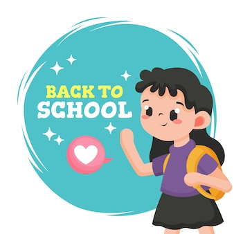 Back to school greeting with cute girl