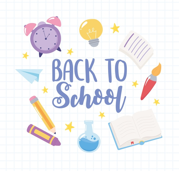 Back to school, grid background clock crayon pencil and book, elementary education cartoon