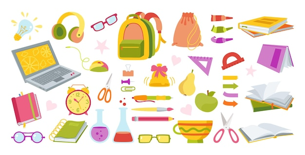 Back to school hand drawn cartoon set learning school colorful flat collection first day school education concept icon kit sketchbook scissors laptop glasses and book backpack paints