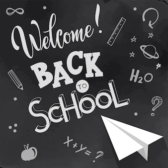 Back to school hand drawn lettering. elements for greeting card, poster, banners. notebook and sticker design