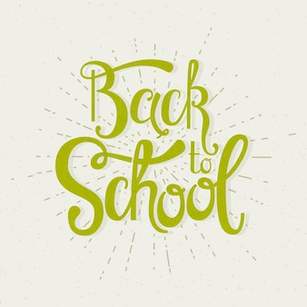 Back to school handwritten inscription. hand lettering card with bursting rays. vector illustration.