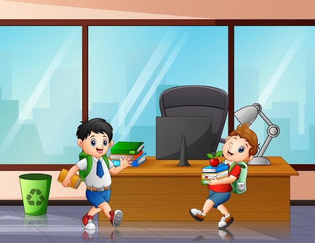 Back to school happy kids walking in the office illustration
