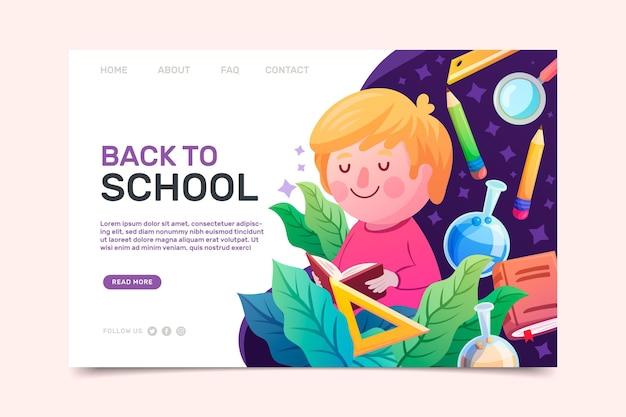 Back to school home page with illustrations