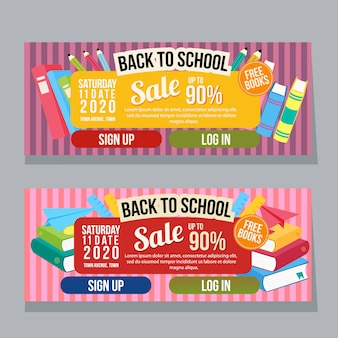 Back to school horizontal banner template books flat style