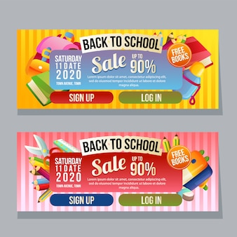 Back to school horizontal banner template school supplies