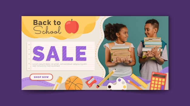 Back to school horizontal banner template with photo