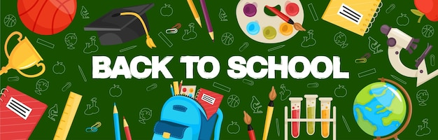 Back to school horizontal banner with school stationery and supplies