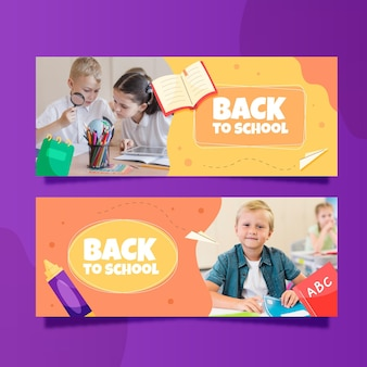 Banner orizzontali di ritorno a scuola con foto