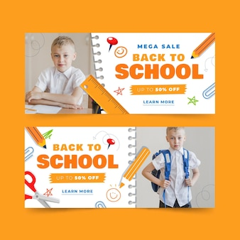 Back to school horizontal banners set with photo