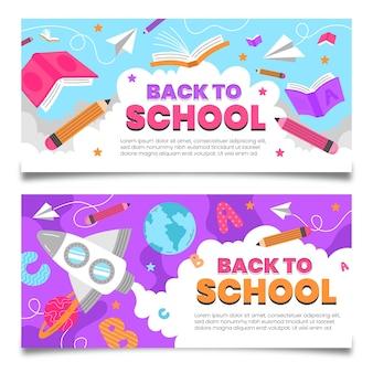 Set di banner orizzontali di ritorno a scuola