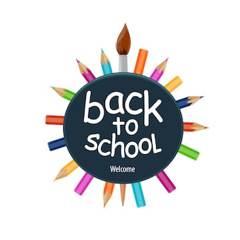 Back to school icon with pencils and paint brush