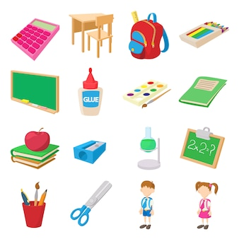 Back to school icons set in cartoon style isolated