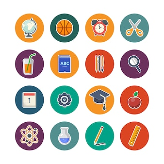 Back to school icons set vector illustration