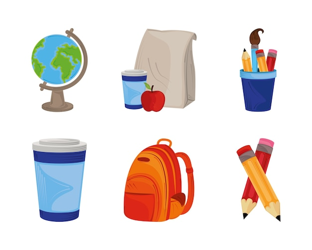 Back to school, icons set with backpack globe pencils and lunch education illustration