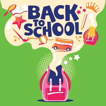 Back to school illustration, backpack with school equipment