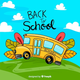 Back to school illustration of school bus